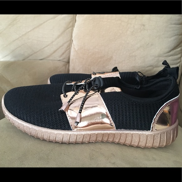 Hype Shoes New Rose Gold Black Sneakers Poshmark